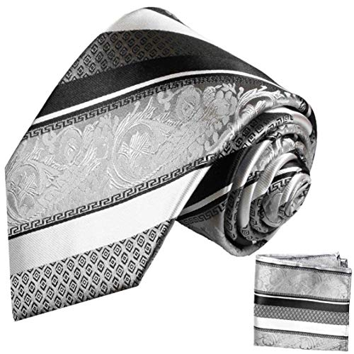 - Silver and Black Silk Tie and Pocket Square Paul Malone Red Line