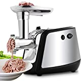 deer grinder - MeyKey Electric Meat Grinder, Meat Mincer with 3 Grinding Plates and Sausage Stuffing Tubes for Home Use &Commercial, Stainless Steel/Silver/1000W