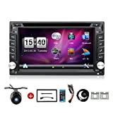 YUNTX Wince 6.2 Inch Double DIN Gps Navigation For Universal Car with Free Backup Camera DVD/CD/MP3/MP4/USB/SD/AM/FM/RDS Radio/Bluetooth/Stereo/Audio/LCD
