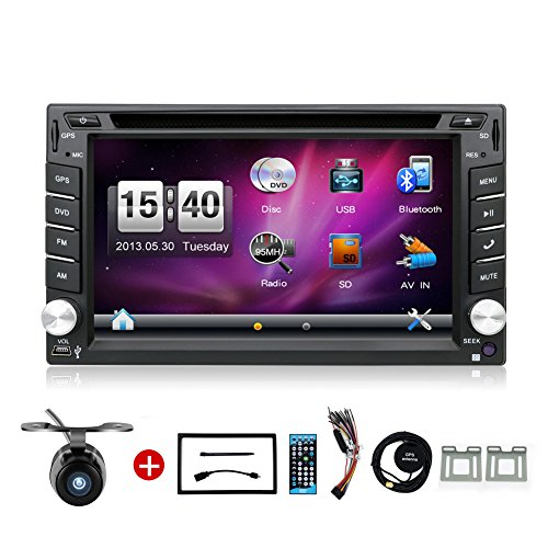 YUNTX Wince 6.2 Inch Double DIN Gps Navigation For Universal Car with Free Backup Camera DVD/CD/MP3/MP4/USB/SD/AM/FM/RDS Radio/Bluetooth/Stereo/Audio/LCD by YUNTX