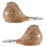 Glitter Clear and Gold Glass Bird Paperweights, Pack of Two (Bundle)