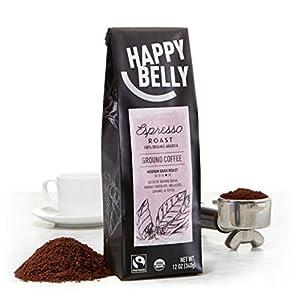 Happy Belly Espresso Roast Organic Fairtrade Coffee, Medium Dark Roast, Ground, 12 ounce