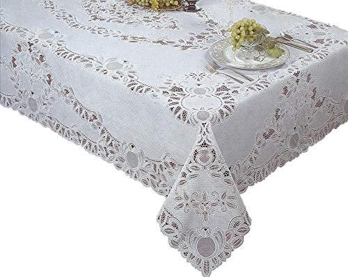 Newbridge Crochet Lace Vinyl Tablecloth 54-Inch by 72-Inch Oblong (Rectangle), White (Lace Vinyl Tablecloth)