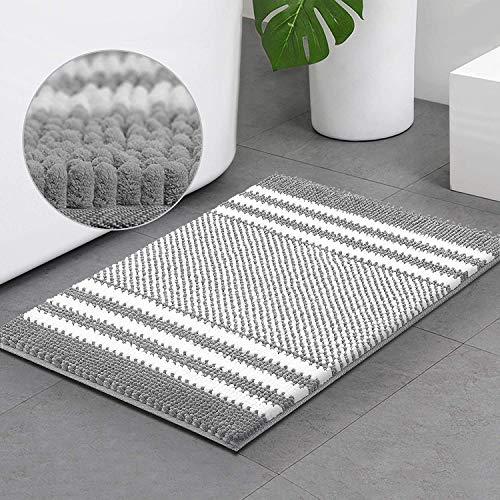 Bsicpro Chenille Bath Rug for Bathroom Shaggy Mat Shower Mats 32 x 21inch Super Non Slip Water Absorbent Carpet Stripe…