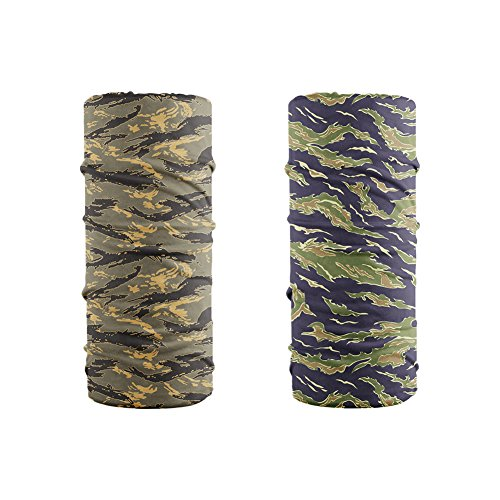 12-in-1 Headband - LOOGU Tigerstripe Camo Multifunctional Seamless Bandanas Headwear (Tigerstripe 2-1, 9.5 x 19 Inches / 24 x 49 CM)