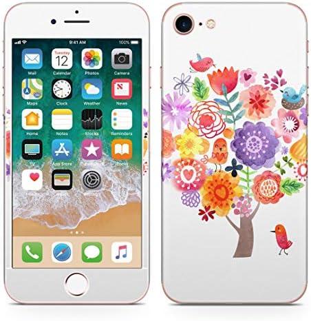 igsticker iPhone SE 2020 iPhone8 iPhone7 専用 スキンシール 全面スキンシール フル 背面 側面 正面 液晶 ステッカー 保護シール 009645 フラワー 鳥 カラフル