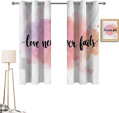 1GShophome Quote Living Room Bedroom Window Curtains Romantic Phrase About Love and Friendship Love Never Fails Bokeh Effect Background Black Curtains Multicolor 55 x 63