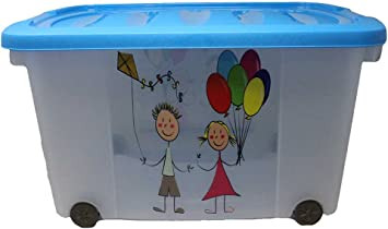 Caja para juguetes (Multi Box) con ruedas, niño, Kids-Blau: Amazon ...