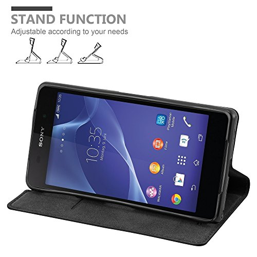 Cadorabo Case works with Sony Xperia Z2 Book Case in NIGHT BLACK (Design INVISIBLE CLOSURE) – with Magnetic Closure, Stand Function and Card Slot – Wallet Case Etui Cover PU Leather by Cadorabo (Image #1)