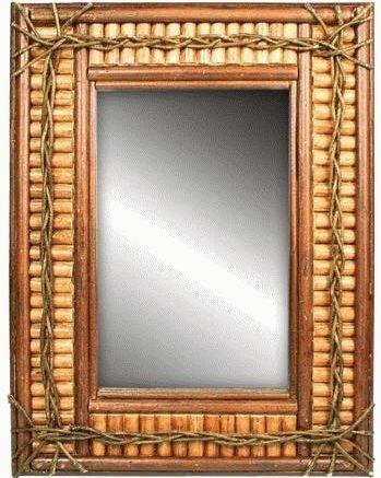 Rustic Log & Twig Wall-Mounted Mirror 24