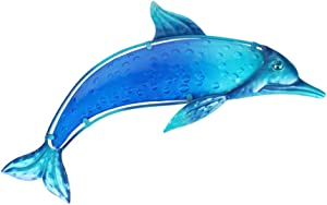 HONGLAND Metal Dolphin Wall Decor Indoor Art Sculpture Outdoor Hanging Glass Decorations Blue for Home Garden Bedroom