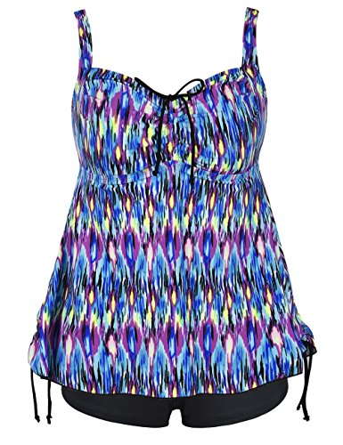 Firpearl Women's Paisley Print Plus Size Tankini Swimdress Swimsuit 24 Multicolour