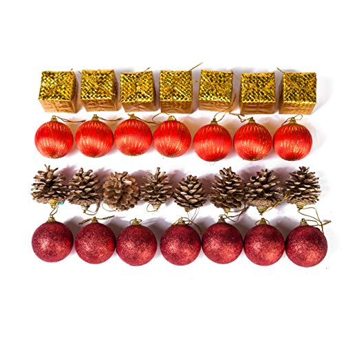 Xena 28 Piece Elegant Modern Red Gold Christmas Tree Ball Ornament Drum Snow Pine Cone Winter Theme Assortment Set, 2 x 2 Inches DIY Holiday Xmas Decorations Present Party Favors Supplies Accessories