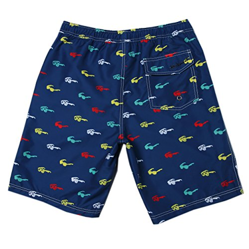 MaaMgic hombre pantalones cortos de playa secado rápido corto tramo de natación Bañadores HSMB16105-azul marino