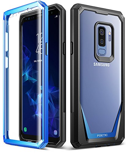 Galaxy S9 Plus Case, Poetic Guardian [Scratch Resistant Back] [360 Degree Protection] Full-Body Rugged Clear Hybrid Bumper Case with Built-in-Screen Protector for Samsung Galaxy S9 Plus Blue Blue Rubberized Protector Case
