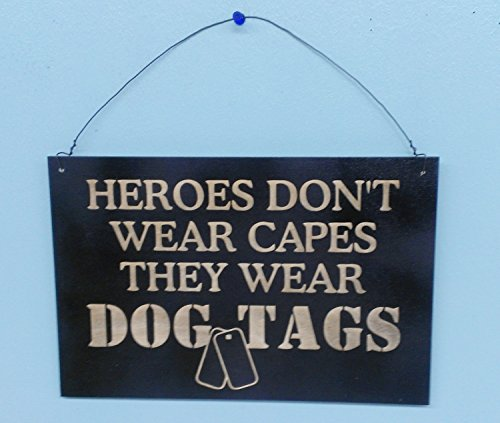 Coast Guard Wood Sign (Personalized wooden Sign, Military Sign, Heroes don't wear capes they wear dogtags Sign, military, army, marine, airforce, navy, national guard, coastguard Width 12