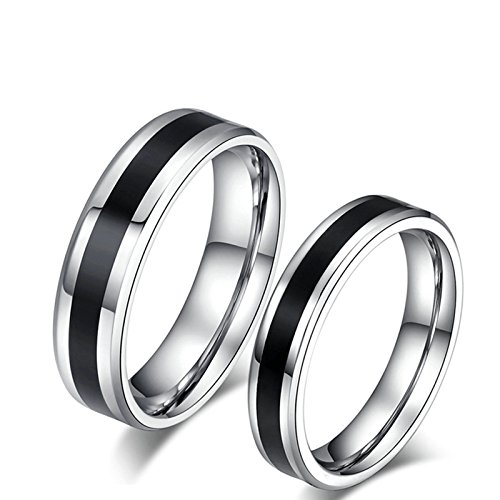 KnSam Titanium Steel CoupleEngagement Rings Black Silver Black Line Woman Size 6 & Man Size 13