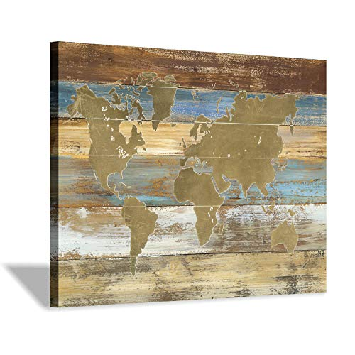 Hardy Gallery World Map Picture Canvas Print: Map on Rustic Wood Background Graphic Art Painting Print in Beige Decor Artwork for Office (24''x18'')