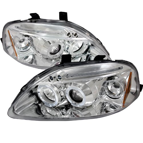 Velocity Concepts For Civic Chrome Clear Dual Halo Led Projector Headlights (Civic Dual Halo Projector Headlights)