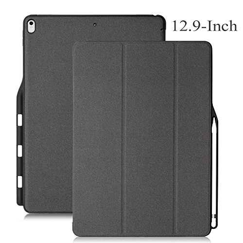 Maxace Pro 12.9 Case Compatible Apple iPad Pro 12.9-Inch (2015 & 2017 Model), iPad Pro 12.9 Case Stand Folio Cover with Multiple Viewing Angles, Auto Sleep/Wake, with Apple Pencil Holder - Gray