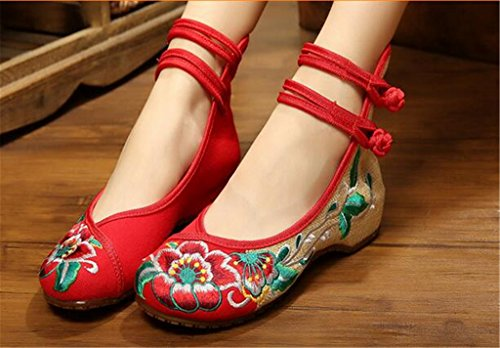 FloraL Women's Singles Boots Red Shoes Embroidered Chinese IBSUq
