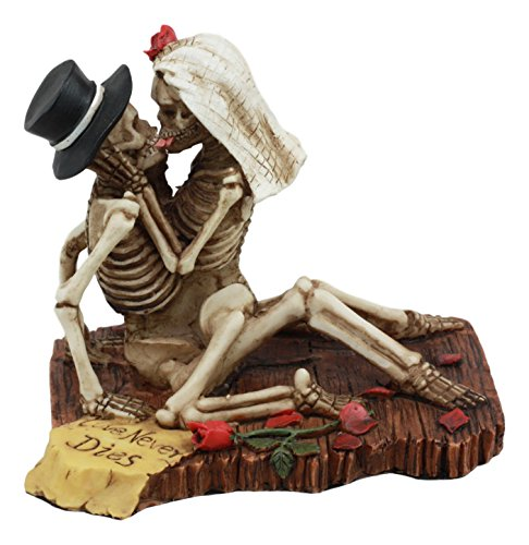 Ebros Love Never Dies Castaway Wedding Skeleton Couple Sex On The Beach Figurine Day Of The Dead Decorative Valentine Skeleton Lovers Kissing Statue -