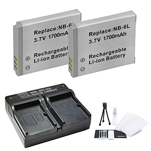 2-Pack NB-6L, NB-6LH High-Capacity Replacement Battery with Rapid Dual Charger for Select Canon Cameras - UltraPro Bundle Includes: Camera Cleaning Kit, Camera Screen Protector, Mini Travel Tripod
