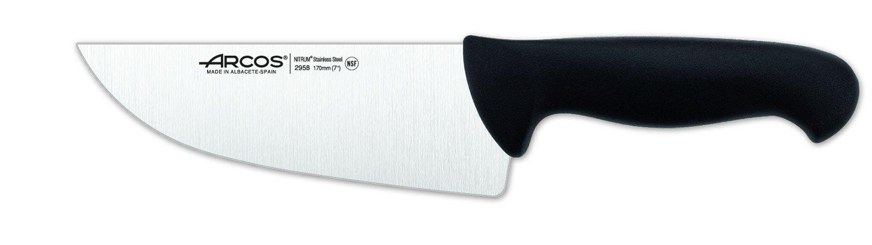 Arcos 7-Inch 170 mm 2900 Range Wide Blade Butcher Knife, Black