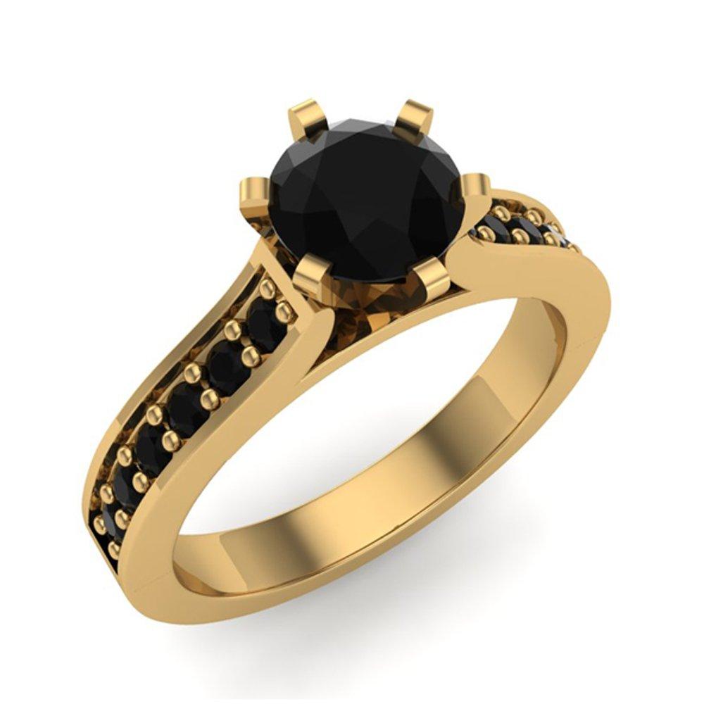 3/4 ct tw Black Diamond Engagement Ring 14k Yellow Gold (Ring Size 7)