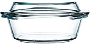 Clear Round Glass Casserole Dish With Lid Non-Plastic Lidded Casseroles Easy Grab Glass Cooking Bowls with Glass Lid, Microwave, Oven, Freezer, and Dishwasher Safe (0.65)