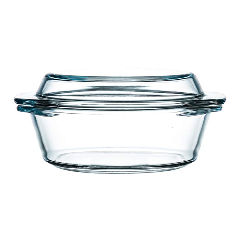 Clear Round Glass Casserole With Lid Glass Bakeware Easy Grab Baking Dish,Microwave, Oven, Freezer, and Dishwasher Safe (1L)