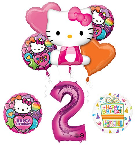 Hello Kitty 2nd Birthday Party Supplies and Balloon Bouquet Decorations]()