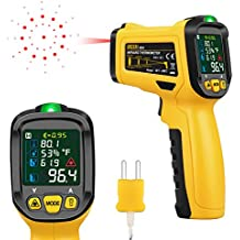 URCERI Infrared Thermometer Digital IR Laser Non Contact Temperature Gun -58℉ to 1472℉ Range with K-Type Thermocouple UV Leak Detector Ambient Humidity Tester, Black and Yellow