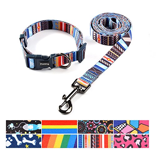 ihoming Pet Collar Leash Set Combo Safety Set for Daily Outdoor Walking Running Training Small Medium Large Dogs - Tag Dog Set