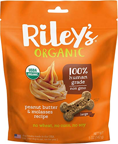Riley'S Organics Peanut Butter And Molasses Bone, Large, 5 Oz.