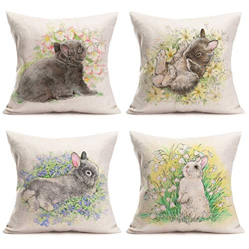 Asminifor Funny Cute Animal Rabbit with Crayon Sketch Flower Leaf Cotton Linen Throw Pillow Case Spring Easter Decorative Pillow Covers 4 Pack Square 18