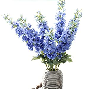 Gumolutin 1 stem Artificial Silk Flowers Long Stem Delphinium for Home Office Indoor Outdoor Wedding Decoration Festive Furnishing, Blue 102