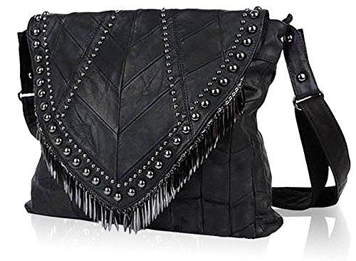 Rivets Studded Shoulder Bag Fringe Beads Leather Handbag Womens Crossbody Bookbag Tote-Pulama (Size L)