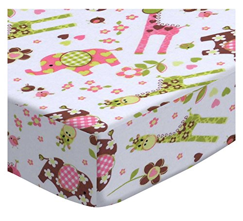 SheetWorld Fitted Portable Mini Crib Sheet - Elephants & Giraffes - Made in USA by SHEETWORLD.COM