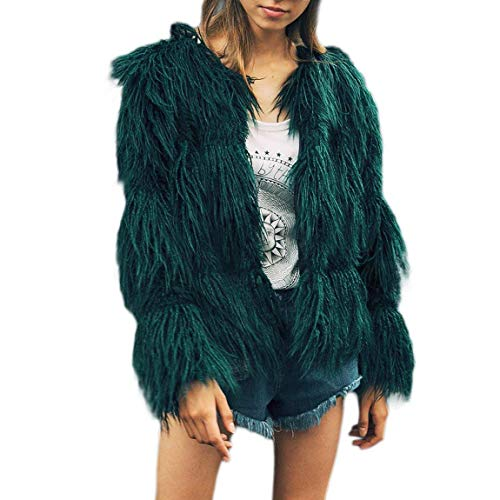 Femme Fourrure Blouson lgant Mode Vintage Fourrure Synthtique Cardigan Duveteux Automne Hiver Warm Veste en Fourrure breal Uni Manche Manches Longues De Haute Qualit Jacken Manteau Rose