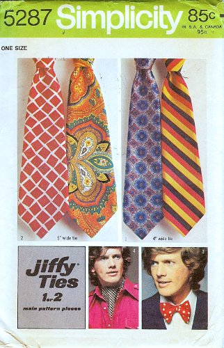 Men's Vintage Reproduction Sewing Patterns Simplicity 5287 Mens Jiffy Ties Sewing Pattern Necktie Bow Tie Ascot Vintage 1970s  AT vintagedancer.com