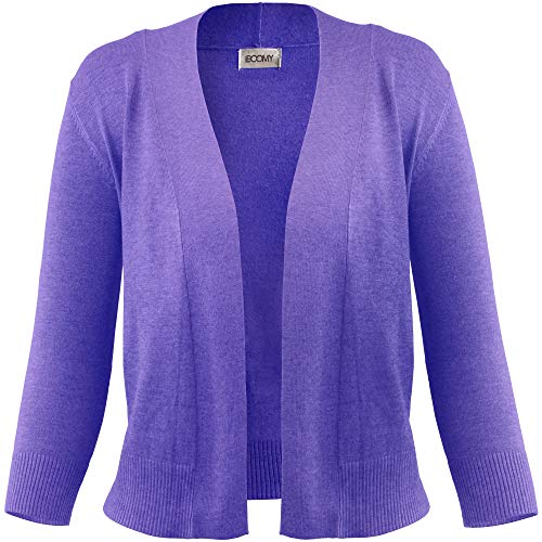 FASHION BOOMY Women's Open Front Cropped 3/4 Sleeve Casual Soft Knit Sweater Classic Basic Bolero Cardigan (Large, Violet) ()