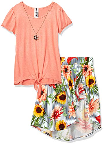Instagirl Girls' Big Knit Top and Romper Skirt Set, Coral/Chambray Sunflower, 7/8