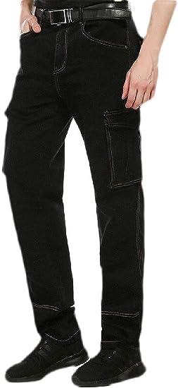 maweisong メンズ カジュアル リラックス フィット ジーンズ カーペンター ワーク パンツ カーゴ デニム パンツ ポケット付き