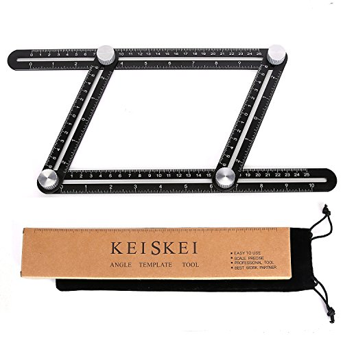 Square Laminate Flooring (Fully Metal Template Tool, Etched Scale Ruler, Multi-Angle Measuring Tool, Easy Angle Finder, Folding Layout Tool Made of Aluminum Alloy for Ultimate Angle Measurement by Keiskei (Black))
