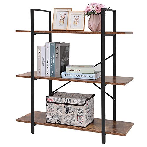 APRILIFE Wooden 3-Tier Bookshelf, Bookcase with Metal Frame, Storage Rack Shelves, Display Shelving for Living Room, Bedroom, Easy Assemble, Rustic Brown