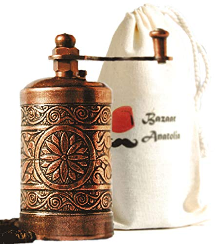 Classic Coffee Salt - Bazaar Anatolia Turkish Handmade Grinder 3.0'', Spice Grinder, Salt Grinder, Pepper Mill (Antique Copper)