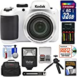 KODAK PIXPRO AZ401 Astro Zoom Digital Camera (White) with 32GB Card + Batteries & Charger + Case + Flash + Tripod + Kit
