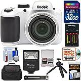 Kodak PIXPRO AZ401 Astro Zoom Digital Camera (White) 32GB Card + Batteries & Charger + Case + Flash + Tripod + Kit