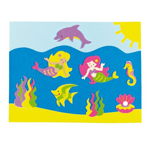 Pack of 120 Baker Ross Mermaid Stickers for Children to Decorate Summer Cards Crafts and Collage AF442